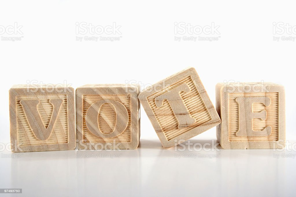 VOTE - wooden blocks series royalty-free stock photo