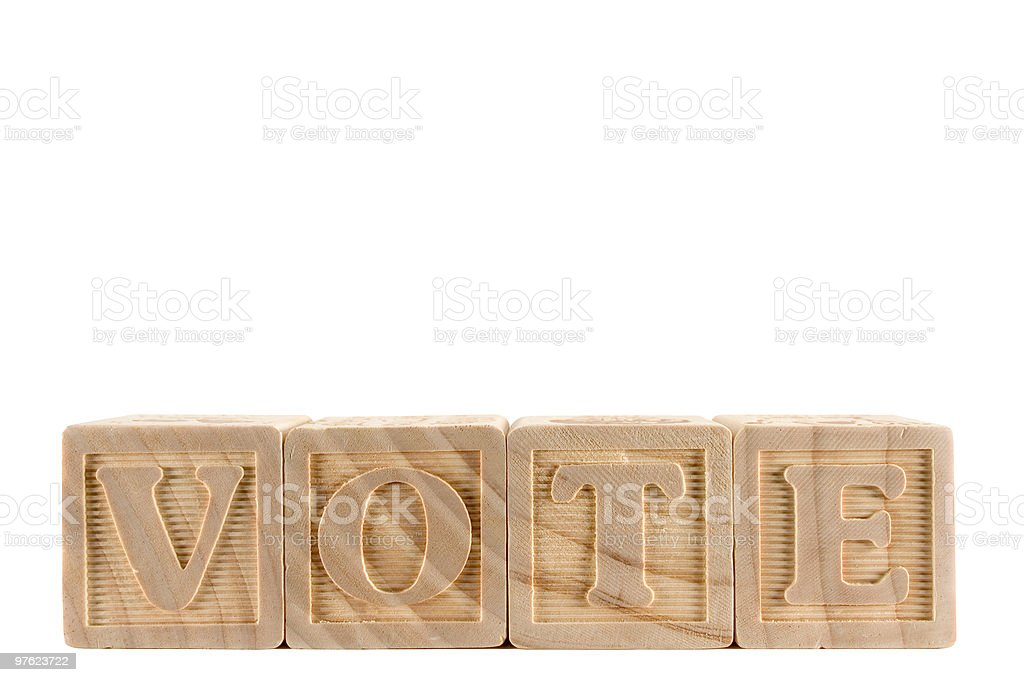 VOTE - wooden blocks series (with clipping path) royaltyfri bildbanksbilder