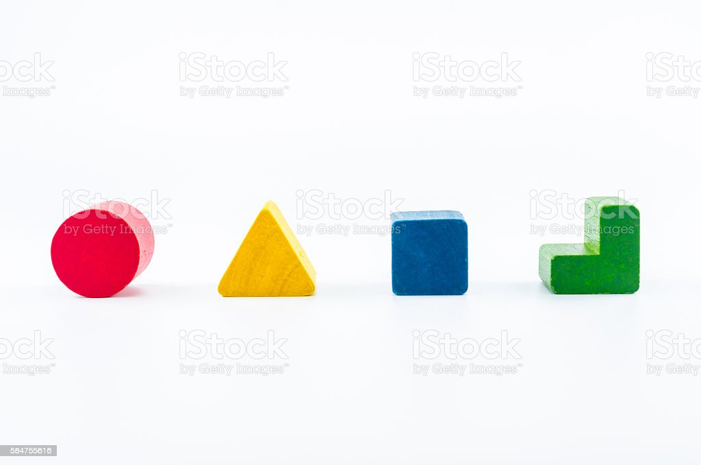 wooden blocks shape sorter toy stock photo