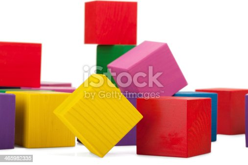 istock Wooden blocks, stack of colorful cubes, childrens toy isolated 465982335