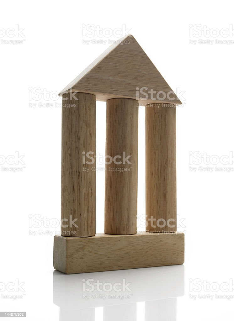wooden blocks / the 3 colums of democracy stock photo
