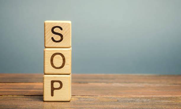 帶有sop(標準操作程式)字樣的木塊。協助員工進行複雜日常操作的說明。經營理念 - 醫療程序 個照片及圖片檔
