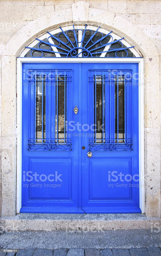 Wooden Blue Door royalty-free stock photo