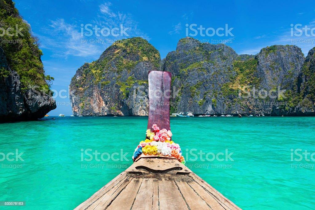 Wooden boad in Maya bay, Thailand. stock photo