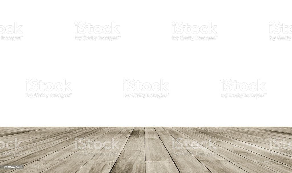 Wooden board empty table in front of isolate white background photo libre de droits