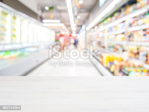 istock Wooden board empty table in front of of supermarket shelves. Perspective white wood over blur in supermarket. Mock up for display or montage products 650744054