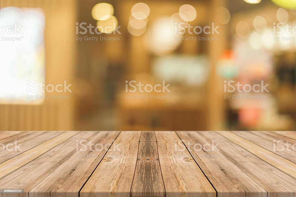 Wooden board empty table in mall bildbanksfoto