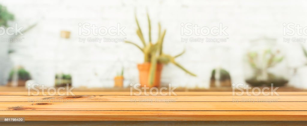 Wooden Board Empty Table Top Blurred Background Perspective Brown
