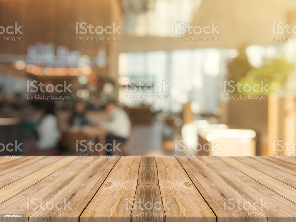 Wooden Board Empty Table Top On Of Blurred Background Perspective