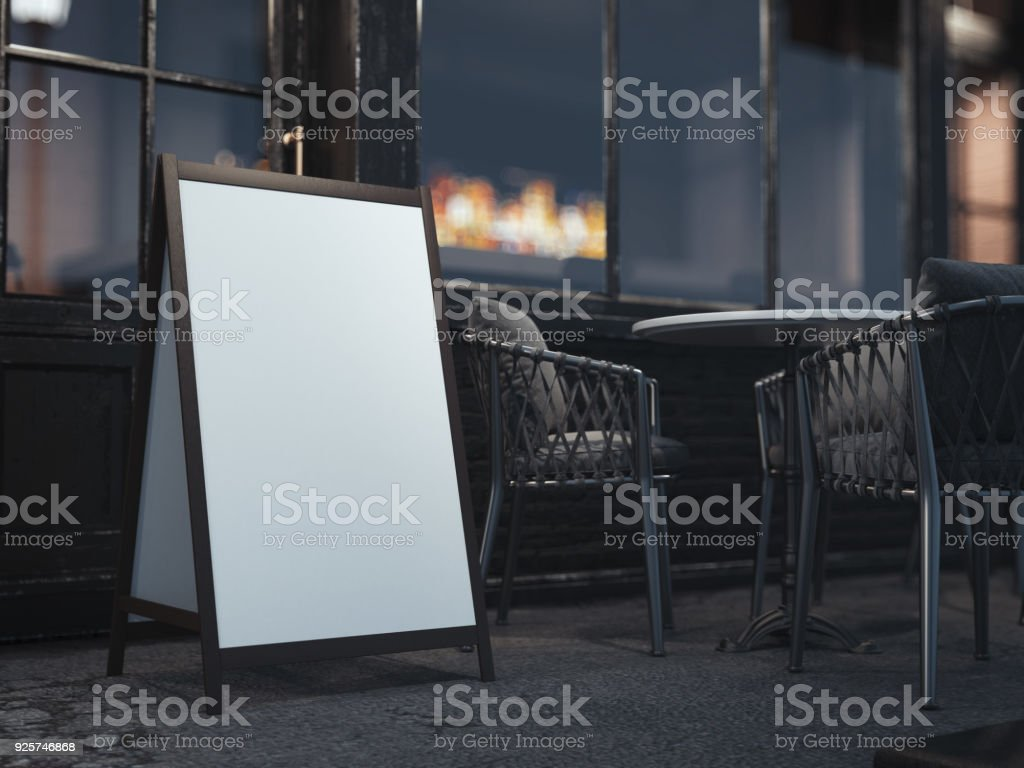 Wooden board for restaurant menu on night street. 3d rendering stock photo
