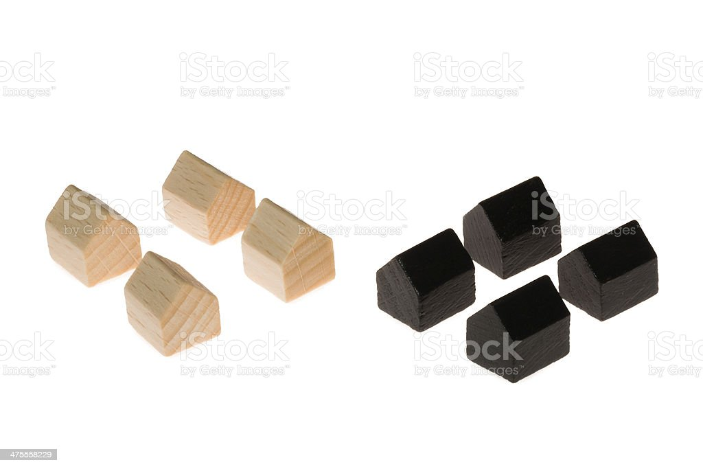 Wooden board gaming pieces stock photo