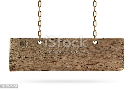 Old and cracked wooden signboard hanged by chain.