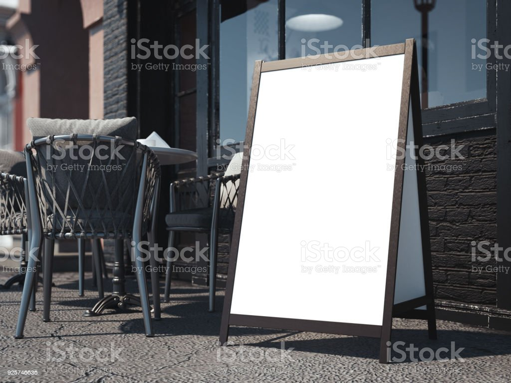 Wooden board on bright street. 3d rendering stock photo