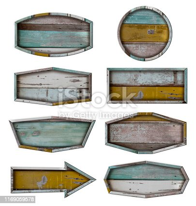 istock Wooden board sign set of wood signboard isolated on white background, Object with clipping path for design work 1169059578