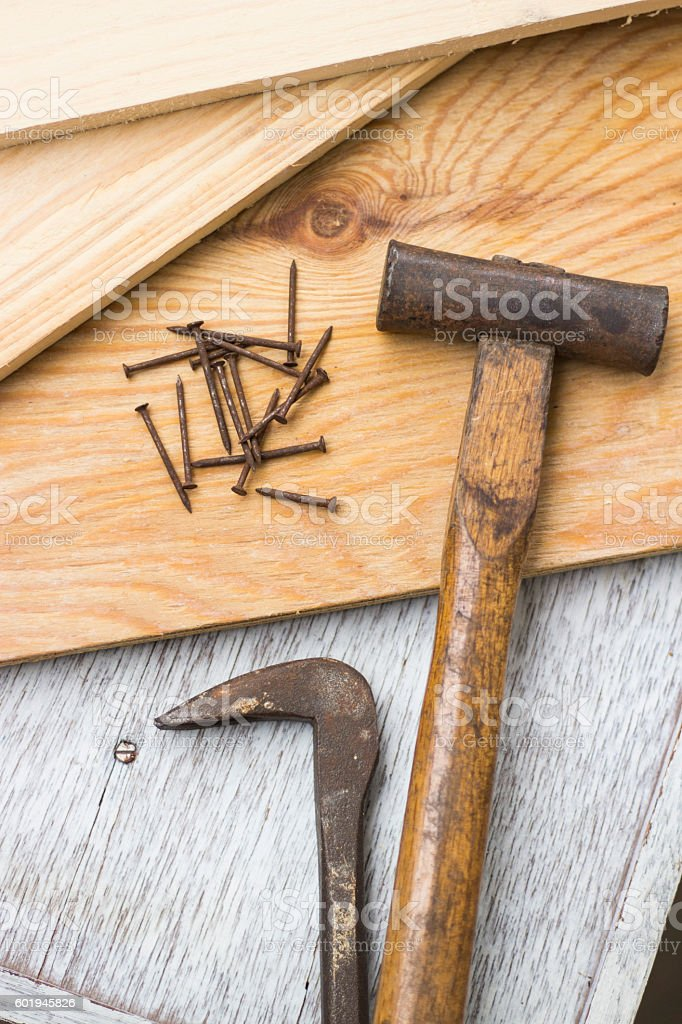 Wooden boards and carpenter's tools stock photo