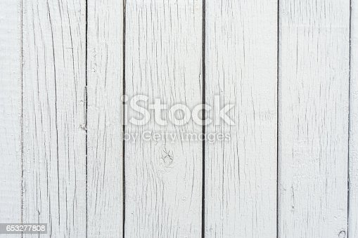 666644136 istock photo Wooden boards have a vertical arrangement, painted with gray paint, visible wood texture and small cracks, abstract background 653277808