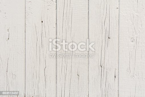 666644136 istock photo Wooden boards have a vertical arrangement, painted with gray paint, visible wood texture and small cracks, abstract background 653513432