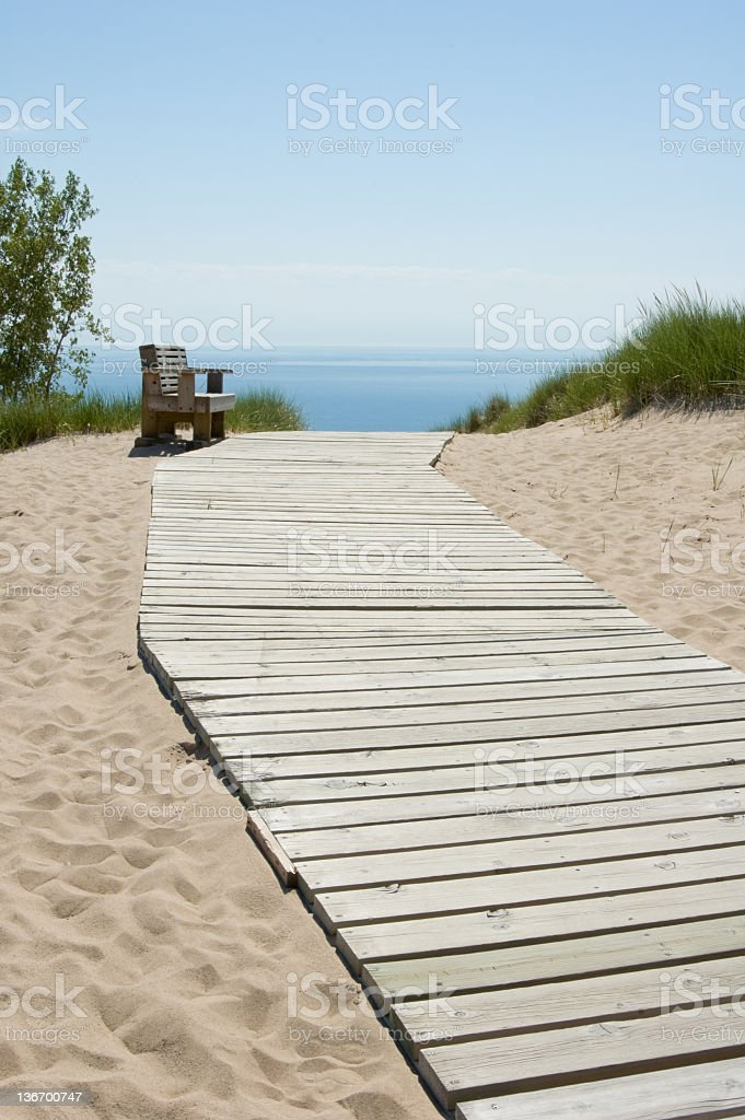 Wooden Boardwalk Footpath. Sand Dunes and Ocean View royalty-free stock photo