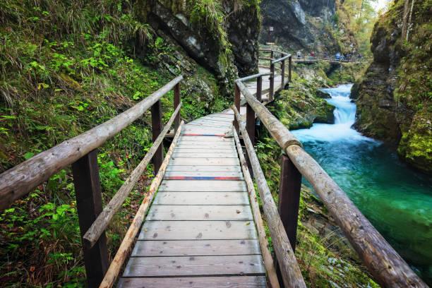 Wooden boardwalk going through scenic Vintgar gorge in Slovenia stock photo