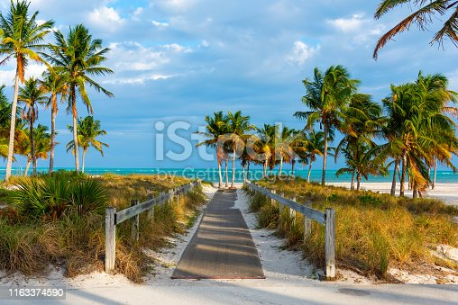 Wooden boardwalk in beautiful Crandon Park in Key Biscayne. Miami, USA