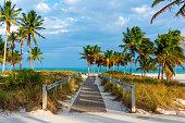 Wooden boardwalk in beautiful Crandon Park in Key Biscayne. Miami, USA