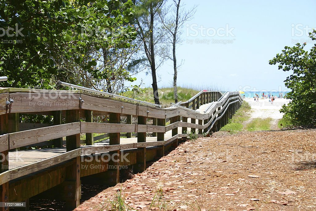 Wooden Boardwalk to the Sea stock photo