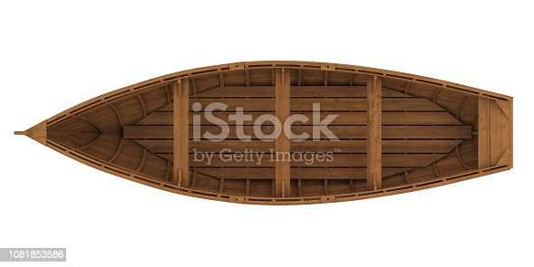 Wooden Boat isolated on white background. 3D render