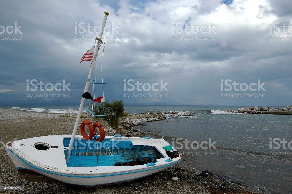 Wooden boat near the sea royalty-free stock photo