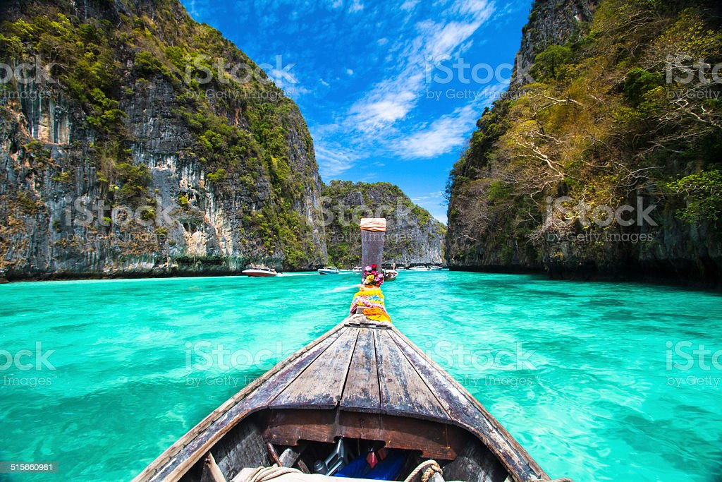 Wooden boat on Phi-Phi island, Thailand. stock photo