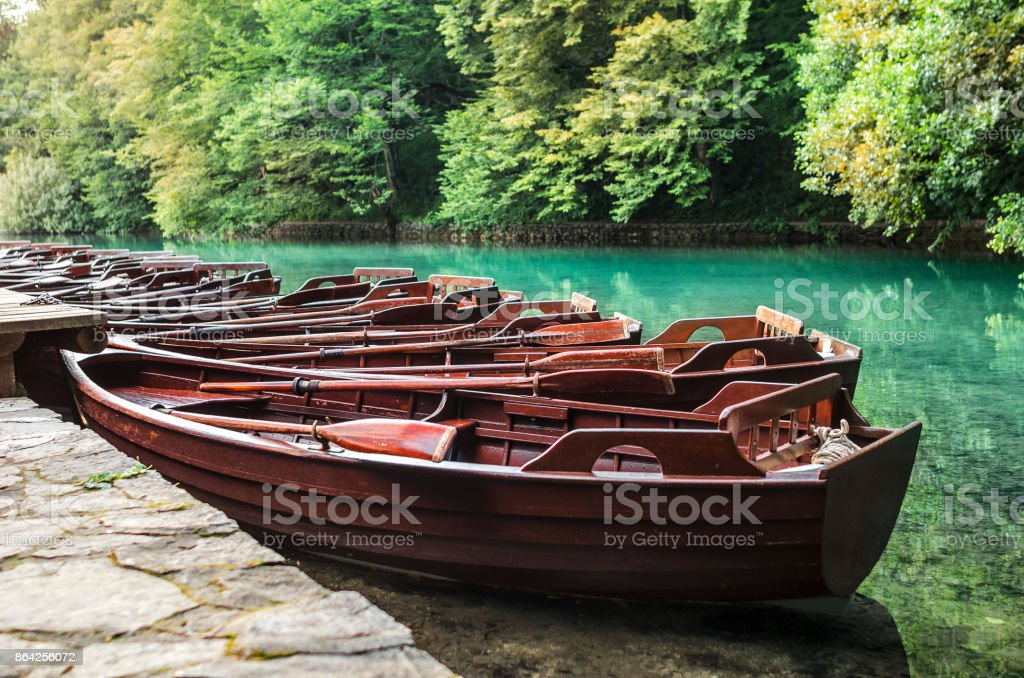 Wooden boats are parked by the shore. royalty-free stock photo