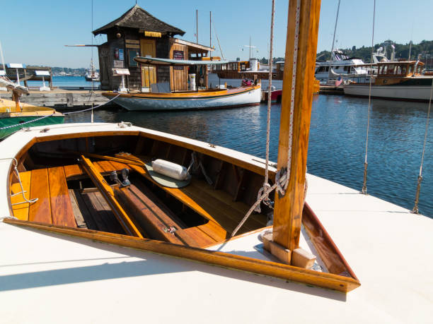 Wooden boats at South Lake Union, Seattle stock photo