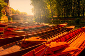 wooden boats at sunset