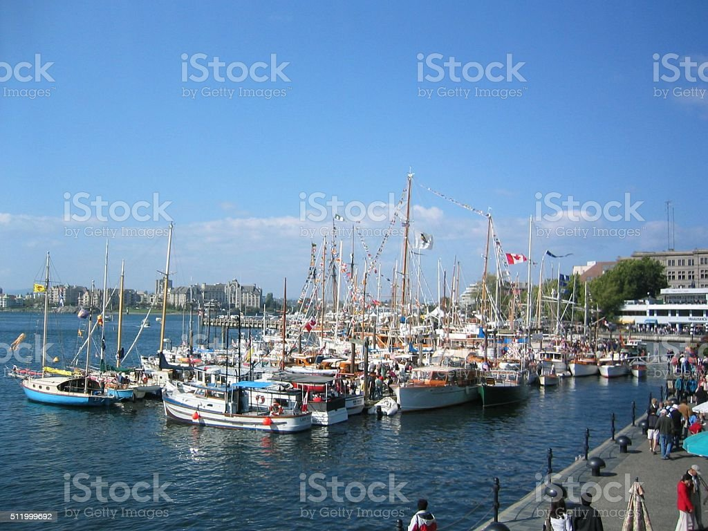 Wooden Boats in Harbor stock photo
