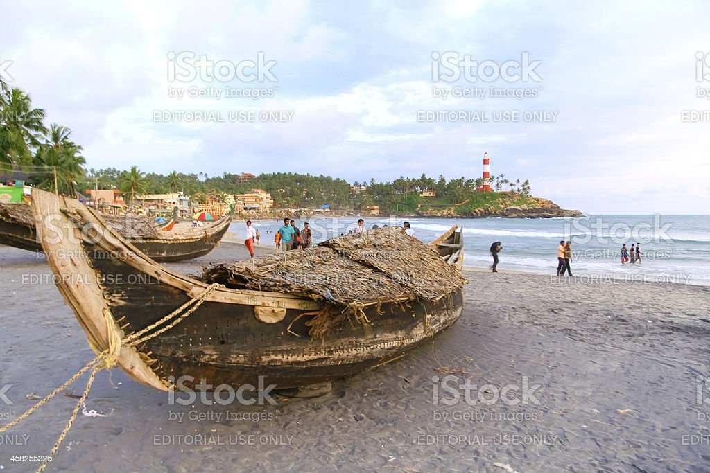 Wooden boats on beach royalty-free stock photo