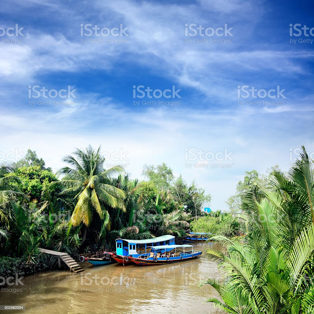 Wooden boats on Mekong stock photo