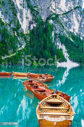 Silent morning in mountains - lake Lago di Braies
