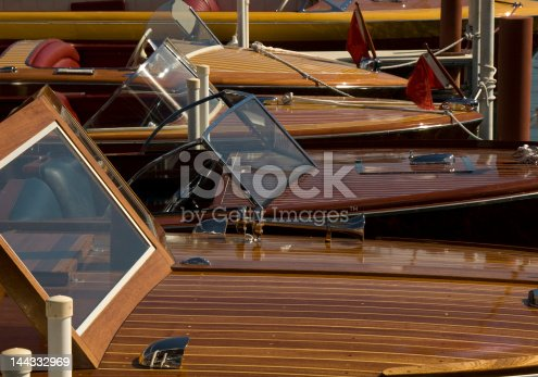 Classic wooden boats docked at Lake Tahoe