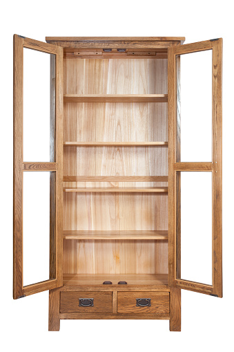 Empty wooden bookcase isolated on white background