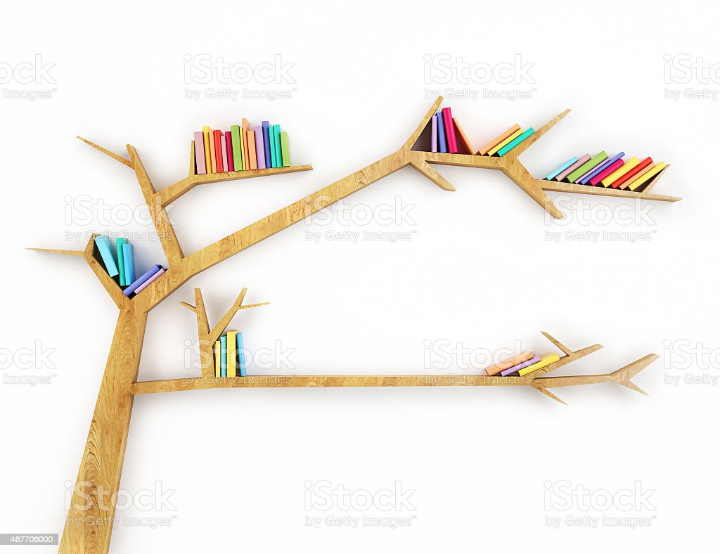 Wooden Bookshelf Shaped Like A Tree With Multicolor Books Royalty Free Stock Photo