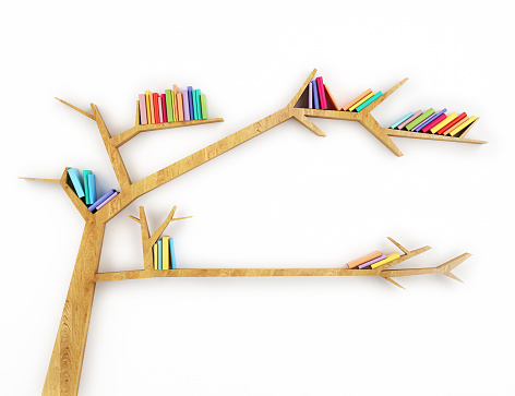 Wooden bookshelf shaped like a tree with multicolor books