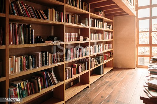 Wooden bookshelves filled with books