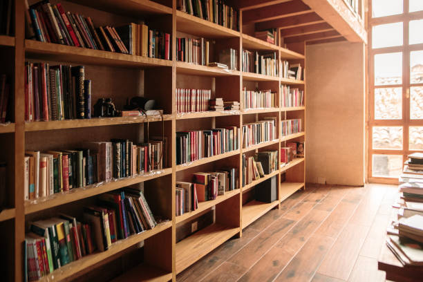 Wooden bookshelves filled with books stock photo