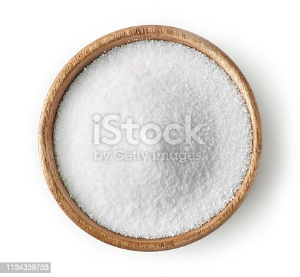 wooden bowl of salt isolated on white background, top view
