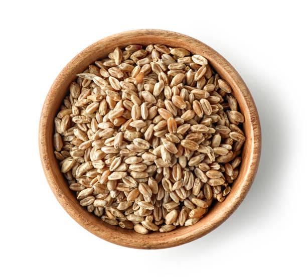 밀 곡물의 나무 그릇 - 보리 뉴스 사진 이미지