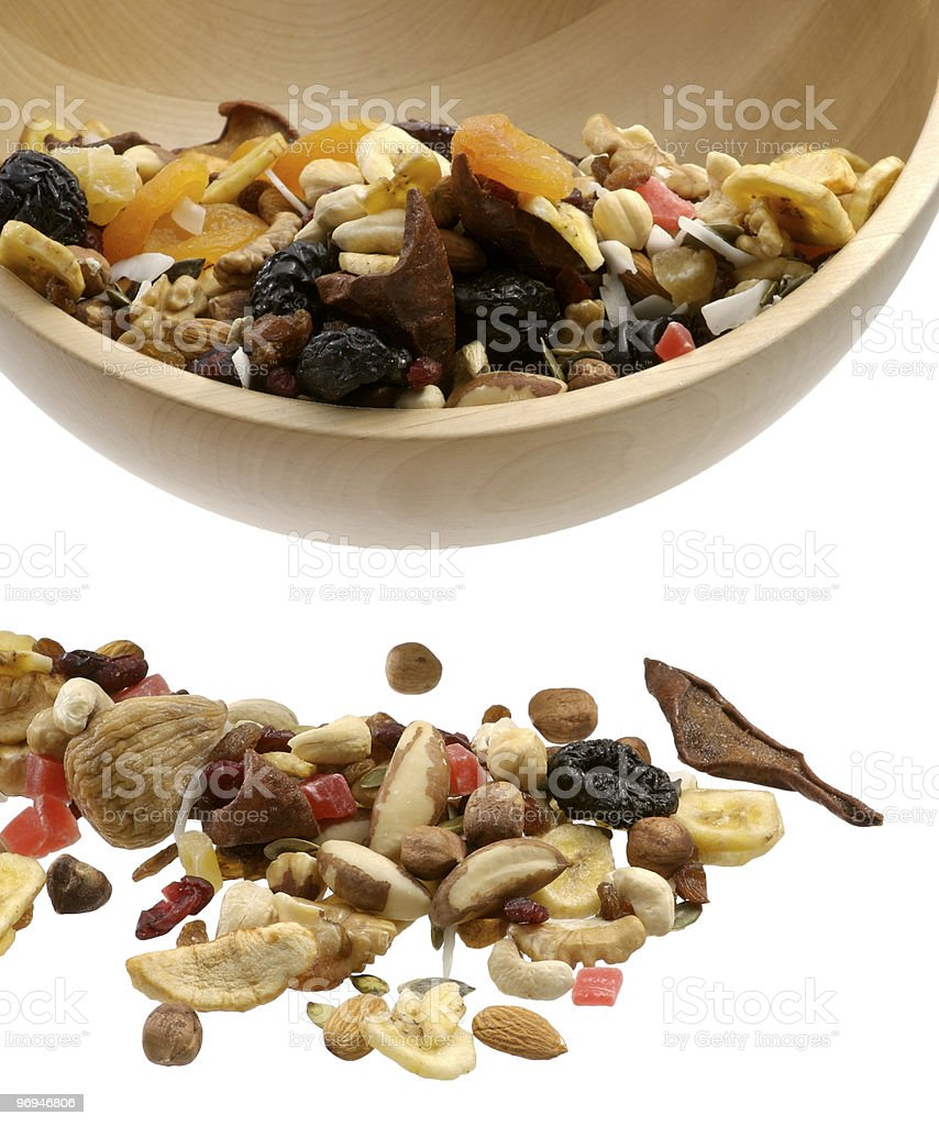 Wooden Bowl With Nuts royalty-free stock photo