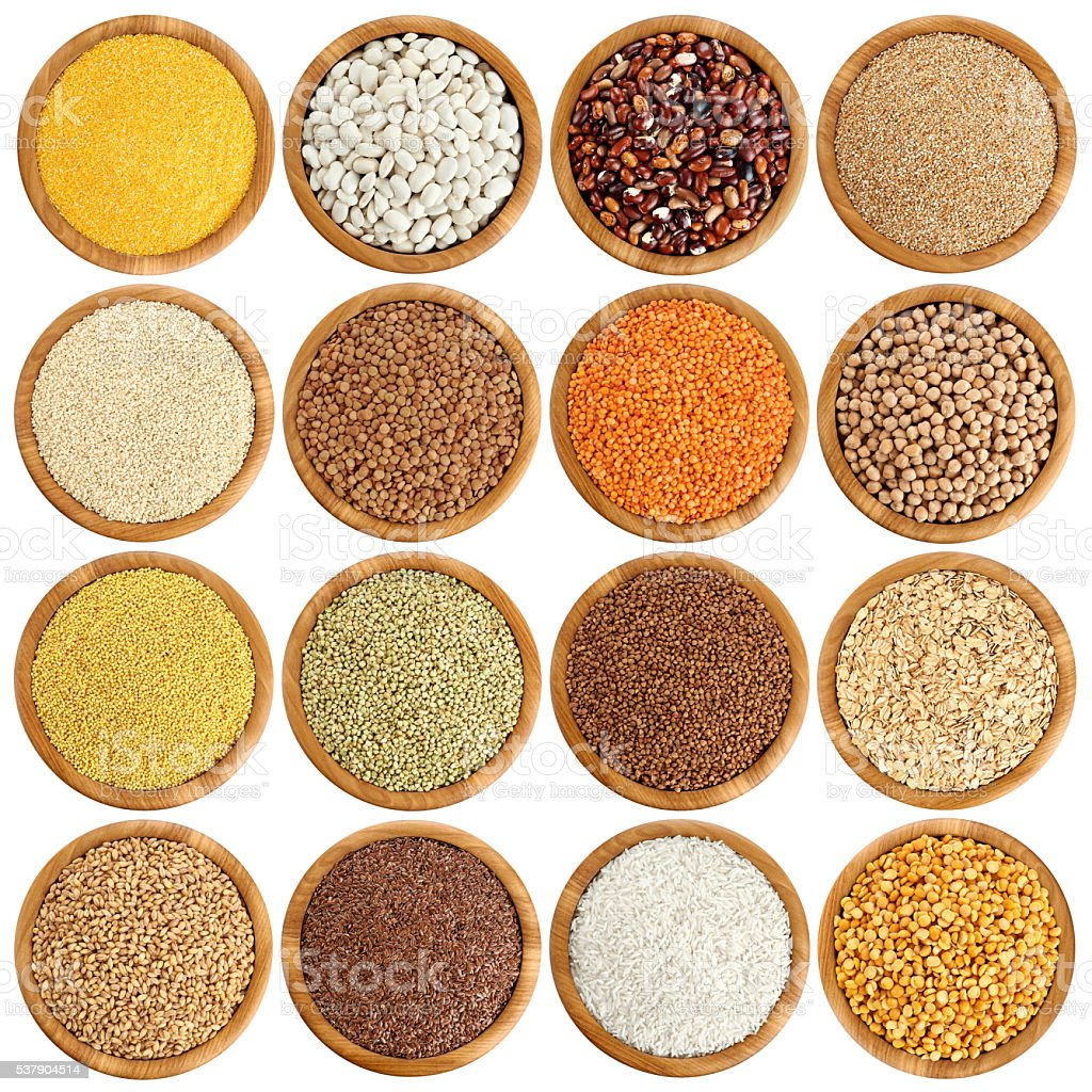 Wooden bowl with porridge, cereals, lentils, peas and beans. stock photo
