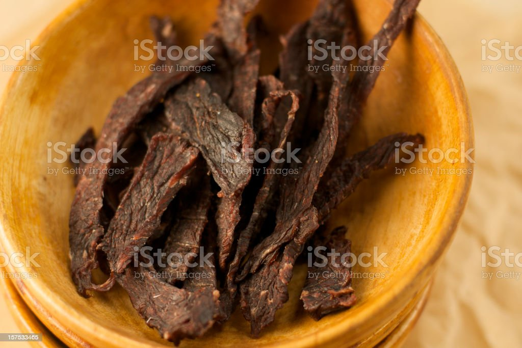 Wooden Bowls of Homemade Jerky royalty-free stock photo