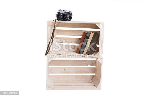 istock Wooden box bookshelf isolated 981053906