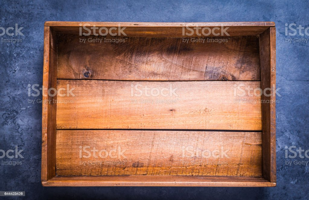 Wooden box empty directly above. royalty-free stock photo