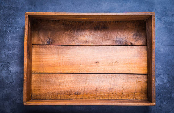 Wooden box empty directly above. stock photo
